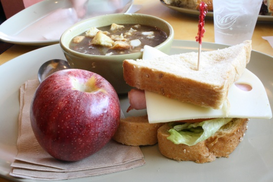 Panera onion soup and smoked ham sandwich with an apple