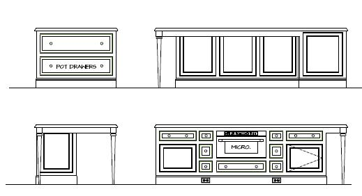 Vertical Drawing of Cabinets for Kitchen Plans