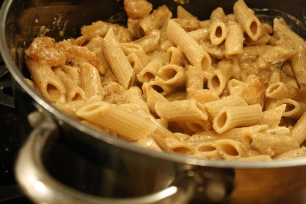 Pasta and Sauce in a Pot