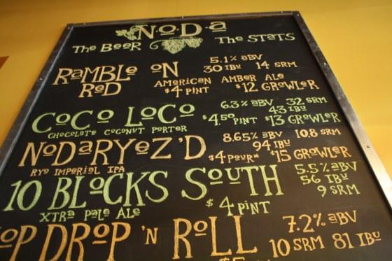 List of Noda Brewery Beers, including Rample Red, Coco Loco, Noda Ryez'd, 10 Blocks