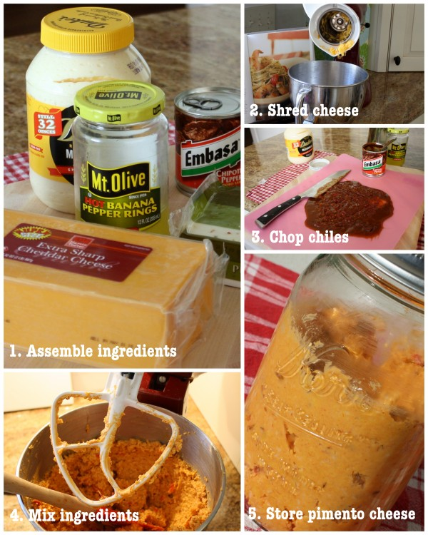 Steps to Make Pimento Cheese, Ingredients, Shred Cheese, Chop Chiles, Mix