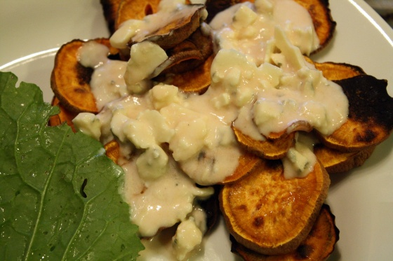 Sweet Potato Chips with Blue Cheese Dressing