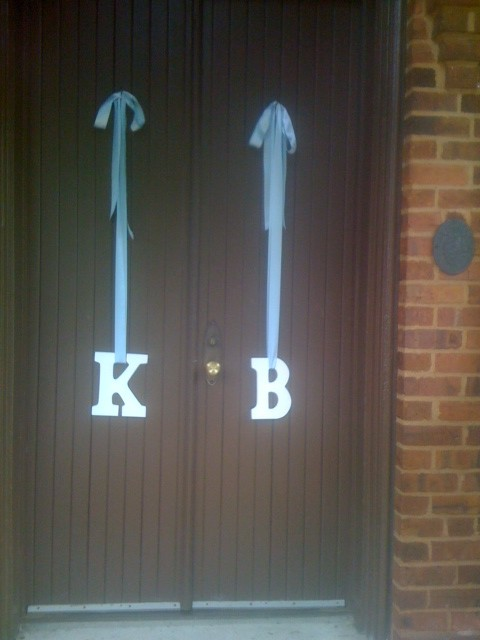Bride and Groom Initials on Church Door