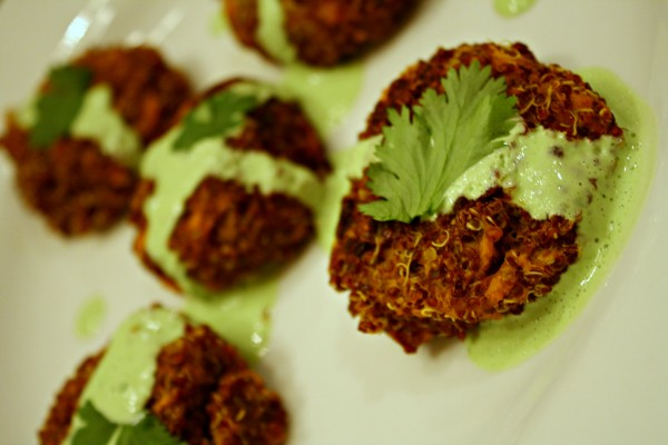 Curry Quinoa Sweet Potato Bites with Creamy Cilantro Sauce