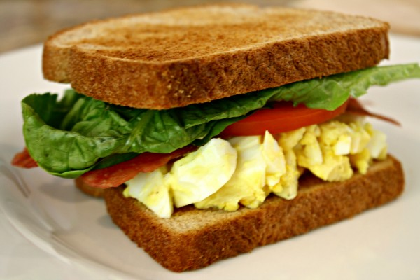 Egg Salad Sandwich with Bacon, Lettuce, and Tomato