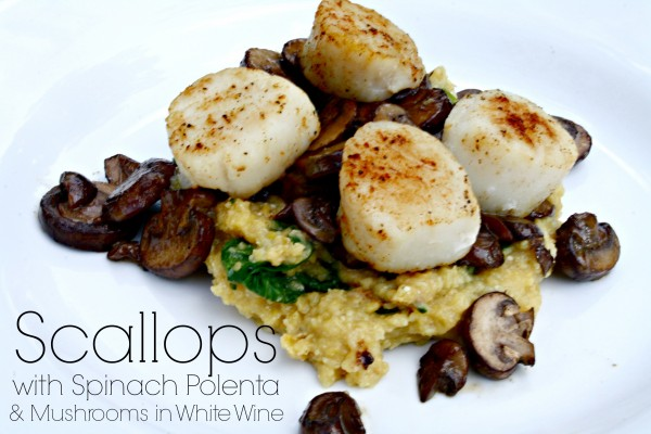 Scallop, polenta, and mushrooms